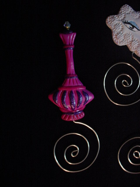 Polymer Clay and Silver Nickel Wire 'Jeannie' Bootle Bookmarks