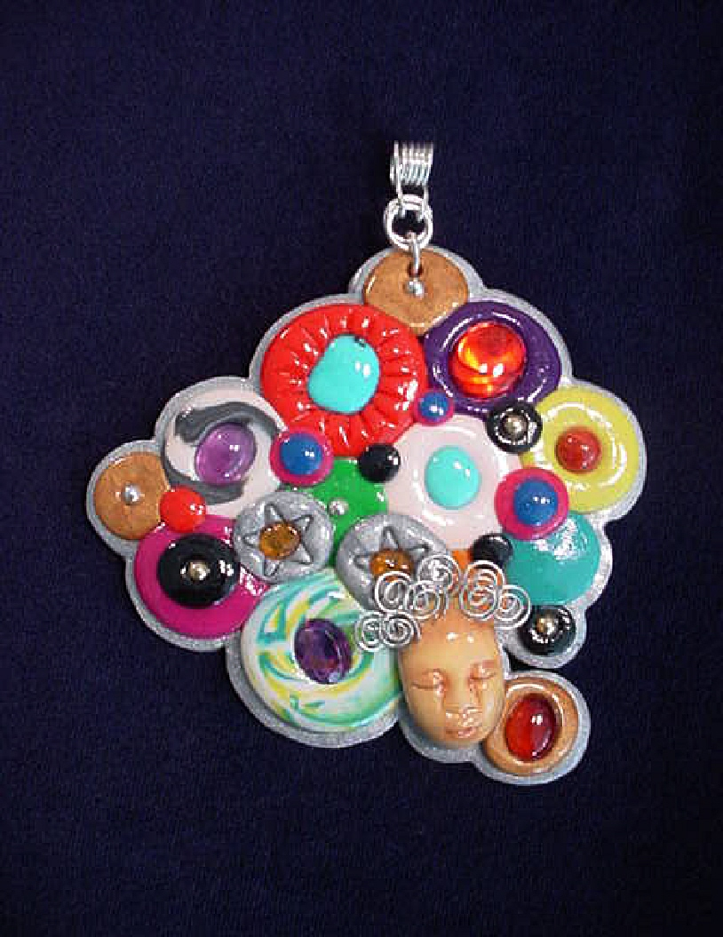 Gems and Polymer Faces Pendant-Handmade with Polymer clay. Handcrafted Sterling Silver pendant holder. Embellished with cabochons of different gems and faceted amethysts. Pendant includes a SS chain. Boxed. Very different and colorful.