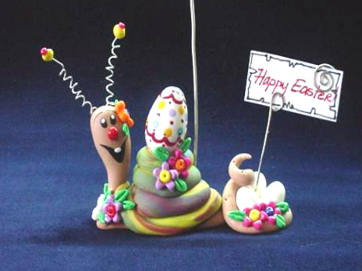 Easter Season Snail Photo or Note Holder-Handmade with glazed Fimo. Nickel and silver wire are used for final details. Each Item can be personalized or the note can bring a special message-Handmade Crafts