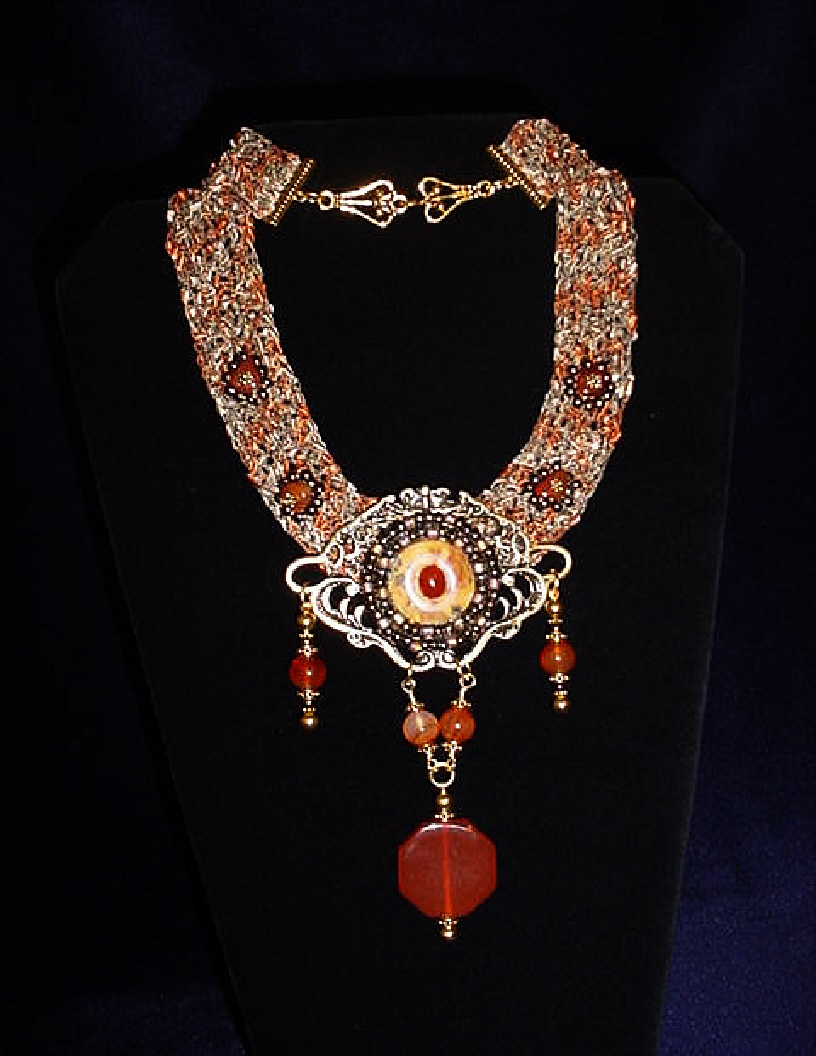 Beautiful Handcrafted Fiber Crochet Carnelian Necklace. Unique Design!