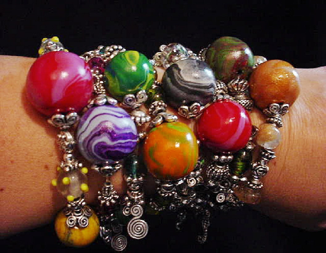 Polymer Clay Marbleized Beads Bracelet-Handmade polymer clay beads, unique glass beads, charms, pewter and silver plated beads and findings. Perfect for Mother's Day Gifts!!!