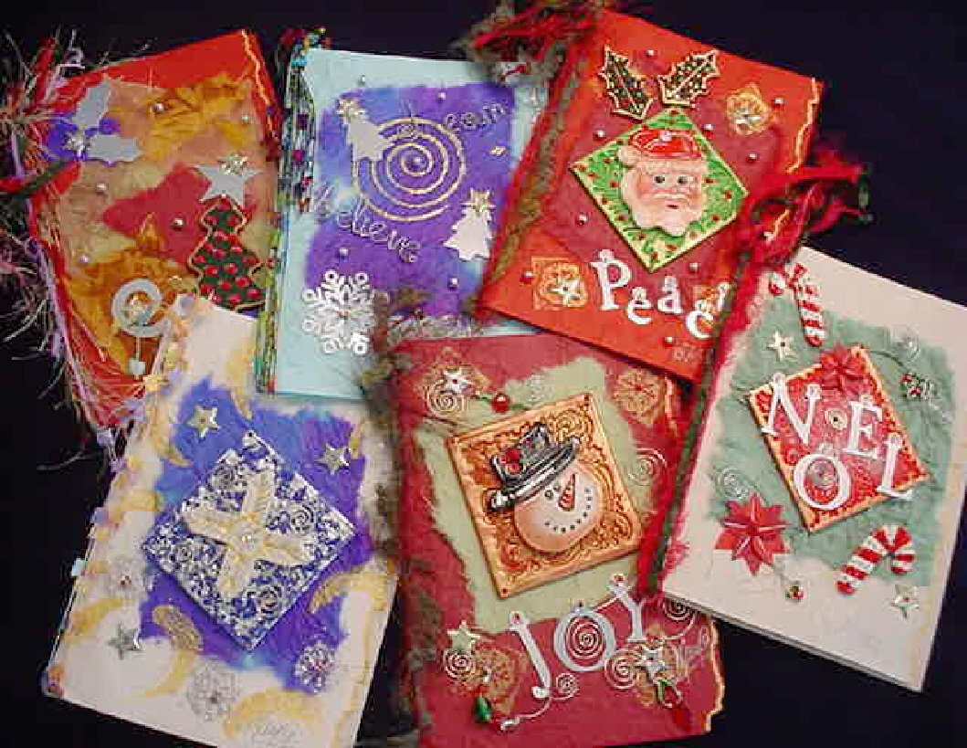 Christmas Handmade Greeting Cards-created with polymer clay, metal, beads, fibers, and other beautiful materials. Each card is carefully placed in a cellophane envelope, and then wrapped in tissue paper to ensure you receive it in perfect conditions.