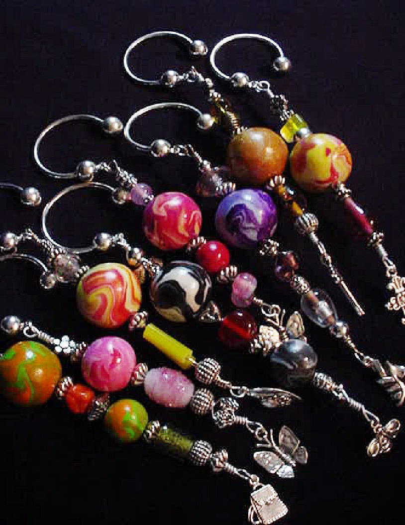 Polymer Clay Marbleized Ball Key Chain-Handmade polymer clay beads, unique glass beads, charms, pewter and silver plated beads and findings. Perfect for Mother's Day Gifts!!!