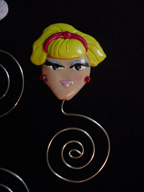 Polymer Clay and Silver Nickel Wire 'Jeannie' Face Bookmarks