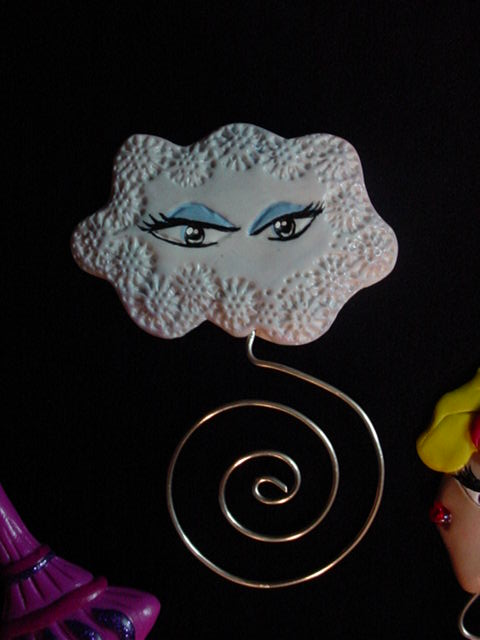 Polymer Clay and Silver Nickel Wire 'Jeannie' Cloud Bookmarks
