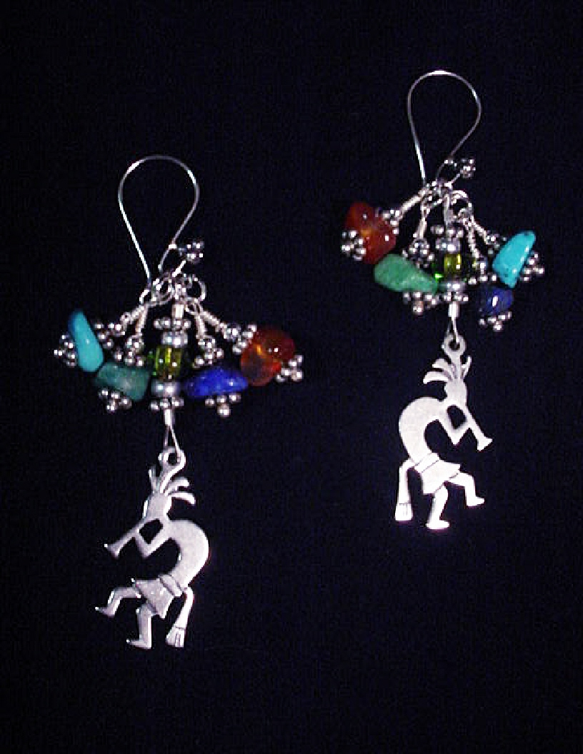 Handcrafted Kokopelli Gemstones Earrings-Handcrafted with gemstones, bali beads and spacers. Silver Sterling earring findings. SS kokopelli charms. Limited production until availability. Beautiful to match with the Kokopelli watch.