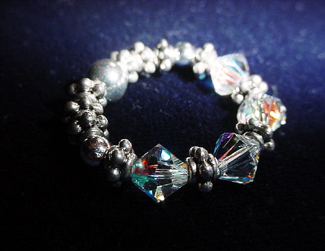Handcrafted Swarovski Crystals Birth Silver Rings-Fits all.Handcrafted with Austrian Swarovski Crystals, Sterling Silver and Silver Plated findings and beads. Stretch cord is used to give flexibility. Beautiful and Elegant to wear anytime.