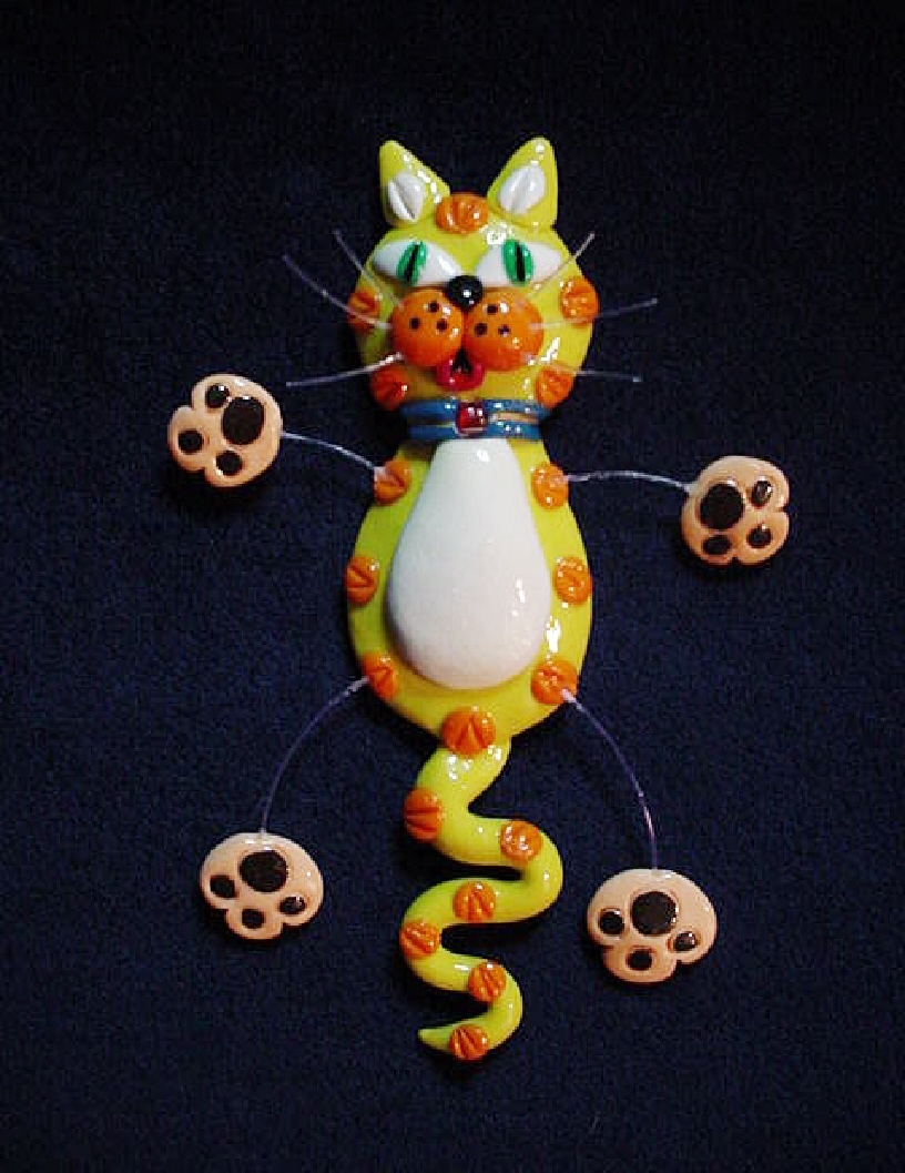 Fimo 'Yelloww Cat' Jewelry Pin Collection-Handmade with polymer clay. Micro filament  is used for final details. Also can be used as a magnet.
